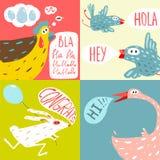 Colorful Fun Cartoon Domestic Animals Greeting Royalty Free Stock Image