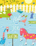 Colorful Fun Cartoon Farm Ice Skating Animals for Royalty Free Stock Photography
