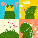 Colorful Fun Cartoon Frogs Animals Greeting Cards Royalty Free Stock Photos