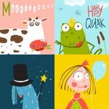 Colorful Fun Cartoon Hand Drawn Animals Greeting Royalty Free Stock Photos