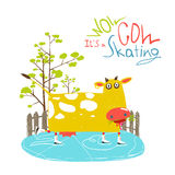 Colorful Fun Cartoon Ice Skating Cow for Kids Royalty Free Stock Images