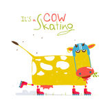 Colorful Fun Cartoon Roller Skating Cow Wearing Royalty Free Stock Image
