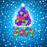 Colorful and fun Christmas Card 2014. Year tree and children made flowers on blue background with stars Stock Photos