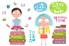 Smart Kids Boy and Girl Reading Books. Colorful fun clip art cartoon of children lettering and a pile of books. Vector cartoon royalty free illustration