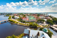 Panoramic view of the of the Vyborg city, Leningrad region, Russia. stock photography