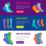 Colorful Fun Socks Banner Horizontal Set. Vector vector illustration