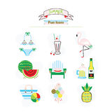 Colorful fun summer, fruit, and beach icons set. On white background Stock Photography