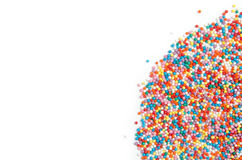 Colorful Funfetti Toppings on white background. Isolated colorful Funfetti Toppings on white background for text Stock Photography