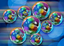 Colorful funky background with mirror disco balls. Colorful funky background with mirrored glitter disco balls for party Stock Images