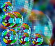 Colorful funky background with mirror disco balls. Colorful funky background with mirrored glitter disco balls for party Royalty Free Stock Photography