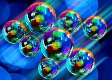 Colorful funky background with mirror disco balls. Colorful funky background with mirrored glitter disco balls for party Stock Image