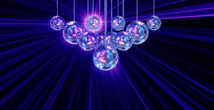 Colorful funky background with mirror disco balls Stock Photo