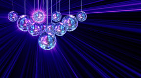 Colorful funky background with mirror disco balls. Colorful funky background with mirrored glitter disco balls for party Royalty Free Stock Photo