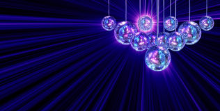 Colorful funky background with mirror disco balls Royalty Free Stock Image