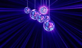 Colorful funky background with mirror disco balls. Colorful funky background with mirrored glitter disco balls for party Stock Photos