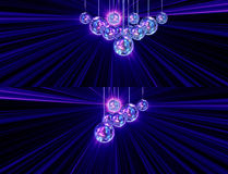 Colorful funky background with mirror disco balls Stock Photos