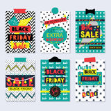Colorful and funky Black Friday Sale cards and icons set Royalty Free Stock Images