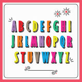 Colorful funky capital alphabet letters set poster. On white background Stock Images