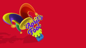 Colorful and funny april `s fool box. Colorful Harlequin hat typography april`s fool surprise box. Loopable animation with Alpha channel, luma matte vector illustration