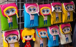 Colorful funny bags for phone on sale, Dubrovnik, Dalmatia, Croatia. royalty free stock image