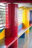 Colorful and funny balcony for children. With red and yellow pole Stock Photos