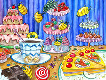 Colorful funny bees in sweetshop. Funny bees in sweetshop, watercolor hand drawn colorful illustration, artwork with sweets, cakes and candies, food and stock illustration