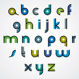 Colorful funny binary cartoon font with rounded lower case lette Stock Photo