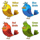 Colorful Funny Birds Set Stock Image