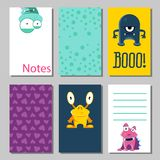 Colorful funny cards set with cute monsters. Templates for birthday, anniversary, party invitations, scrapbooking. Colorful funny cards set with cute monsters Stock Illustration