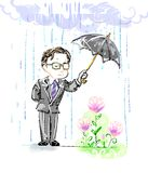 Cartoon doodle of a man in suit and glasses holding umbrella to protect flowers from the stormy weather Stock Image