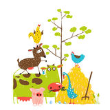 Colorful Funny Cartoon Farm Domestic Animals Stock Photo