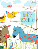 Colorful Funny Cartoon Farm Domestic Animals. Countryside humor cute colorful animals illustration for children. Vector EPS10 Royalty Free Stock Photo