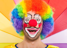 Colorful funny clown face portrait Stock Image