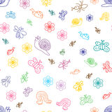 Colorful Funny Doodle Insects. Children Drawings of Cute Bugs, Butterflies, Ants and Snails. Sketch Style. Vector Illustration. Colorful Funny Doodle Insects Royalty Free Stock Images