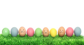 Colorful funny easter eggs in green grass Stock Photography