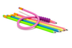 Colorful funny flexible pencils Stock Image