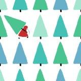 Santa Stealing Christmas Tree Seamless Pattern. vector illustration