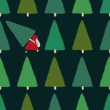 Santa Stealing Christmas Tree Seamless Pattern. royalty free illustration
