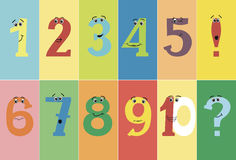 Colorful funny numbers from one to ten with eyes and positive emotions. Stock Images