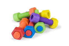 Colorful and funny nuts and bolts Royalty Free Stock Photography