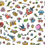 Colorful Funny Old School Tattoo Seamless Pattern Royalty Free Stock Photos