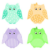 Colorful funny owls. Vector set of colorful cute owls Stock Photos