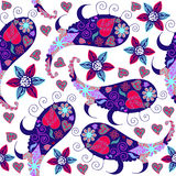 Colorful funny Paisley seamless pattern and seamless pattern in Stock Image