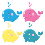 Colorful funny whales Vector character Stock Images