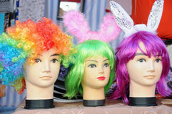 Colorful funny wigs Stock Images
