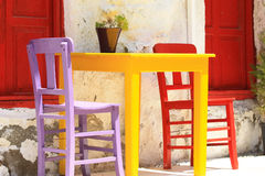 Colorful furniture of a street restaurant. Bright colors of the table and chairs in a street turkish cafe Royalty Free Stock Image