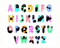 Colorful furry characters alphabet, isolated on white stock photography