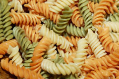 Colorful fusilli pasta. Background of colorful fusilli pasta Royalty Free Stock Photos