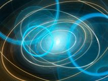 Colorful future space technology with elliptical tarjectories Royalty Free Stock Photo