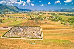 Colorful Gacka valley aerial summer view. Lika region of Croatia royalty free stock images